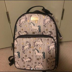 New Betsey Johnson unicorn backpack bag stripes